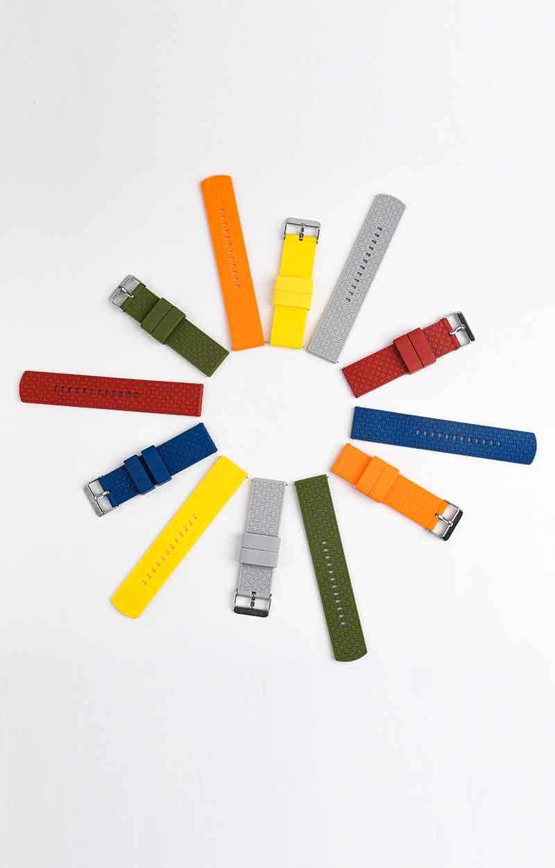 源头厂家 新款现货时尚条纹防水防尘智能手表带 22MM平头硅