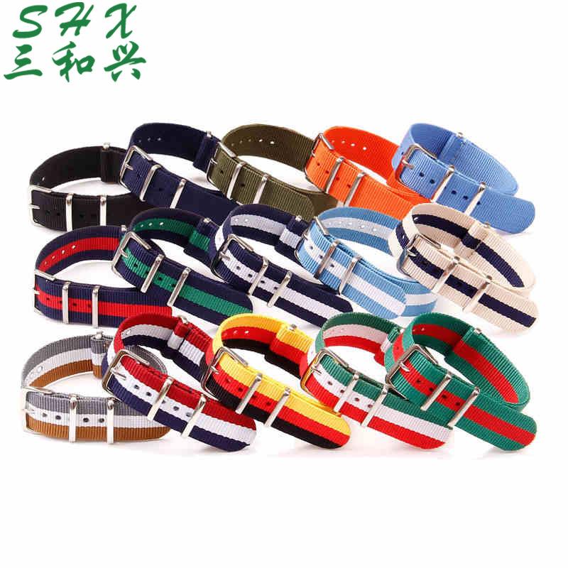 定制批发 户外运动一条过间色尼龙表带 单色NATO时尚编织手