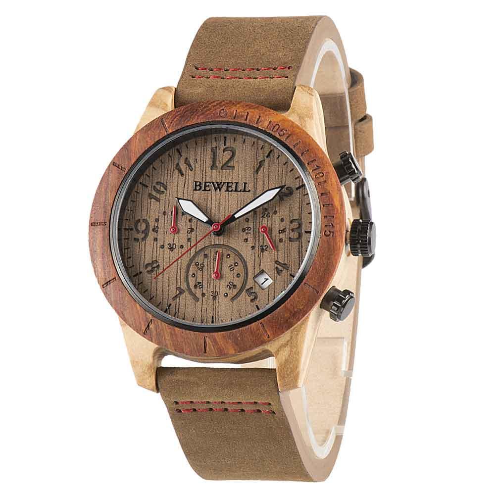 BEWELL新款木手表6针多功能欧美时尚休闲男手表跨境外贸